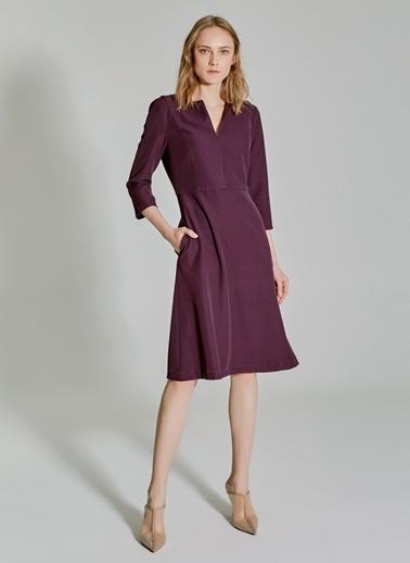 People By Fabrika Kesik Detaylı Elbise Mor